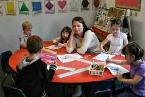 Teach with young kids at school