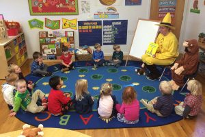 Teacher reading Curious George to kids in school